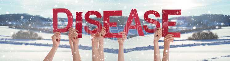 People Hands Holding Word Disease, Snowy Winter Background
