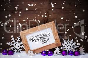 Frame, Purple Ball, Tree, Snow, Snowflakes, Glueckliches 2021 Means Happy 2021