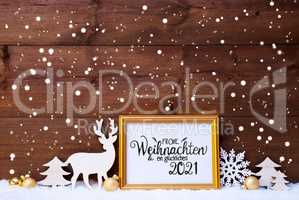 Frame, Golden Ball, Tree, Snow, Deer, Glueckliches 2021 Means Happy 2021