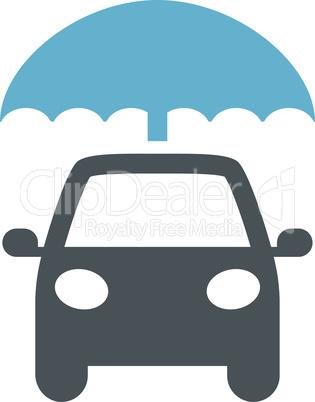 Car with umbrella black vector icon