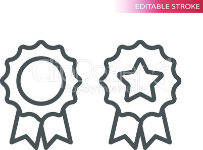 Quality award badge thin line vector icon
