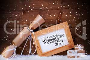 Frame, Gift, Snow, Snowflakes, Glueckliches 2021 Means Happy 2021