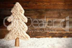 Fabric Christmas Tree, Snow, Copy Space, Rustic Brown Wooden Background