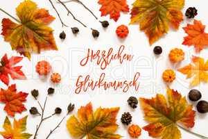 Colorful Autumn Leaf Decoration, Herzlichen Glueckwunsch Means Congratulations
