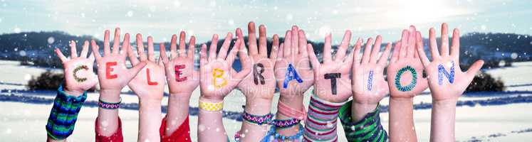 Children Hands Building Word Celebration, Snowy Winter Background