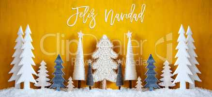 Banner, Trees, Snow, Yellow Background, Feliz Navidad Means Merry Christmas