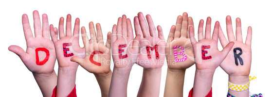 Children Hands Building Word December, Isolated Background