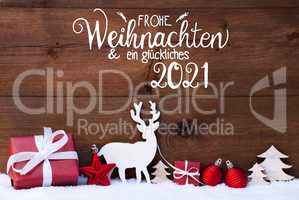 Reindeer, Gift, Tree, Ball, Snow, Glueckliches 2021 Means Happy 2021