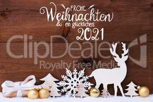Reindeer, Gift, Tree, Golden Ball, Snow, Glueckliches 2021 Means Happy 2021