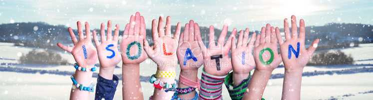 Kids Hands Holding Word Isolation, Snowy Winter Background