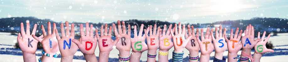 Hands Building Kindergeburtstag Mean Childrens Birthday Party, Winter Background