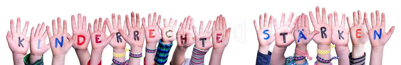 Hands, Kinderrechte Staerken Means Strengthen Children Rights, White Background
