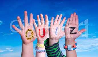 Children Hands Building Word Quiz, Blue Sky