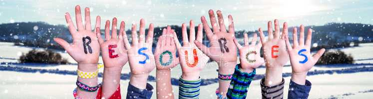 Children Hands Building Word Resources, Snowy Winter Background
