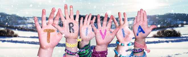 Children Hands Building Word Trivia, Snowy Winter Background