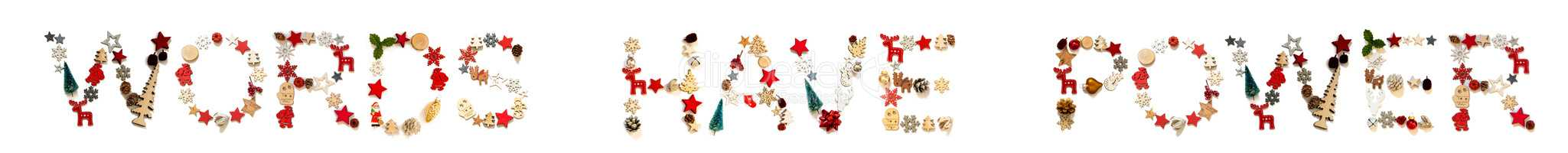 Colorful Christmas Decoration Letter Building Word Words Have Power