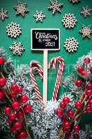 Fir Branch, Christmas Decoration, Sign, Merry Christmas And Happy 2021