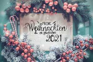 Fir Tree Branch, Paper, Glueckliches 2021 Means Happy 2021