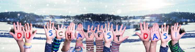 Children Hands Building Du Schaffst Das Means You Can Do It, Winter Background