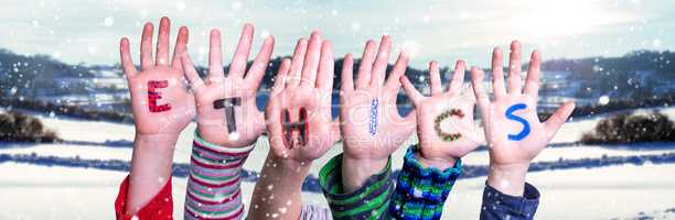 Children Hands Building Word Ethics, Snowy Winter Background