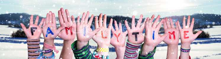 Children Hands Building Word Familytime, Snowy Winter Background