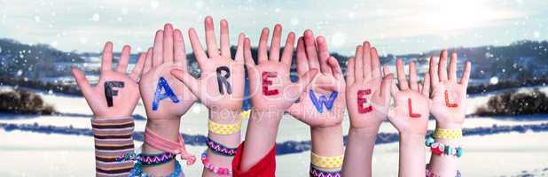 Children Hands Building Word Farewell, Snowy Winter Background