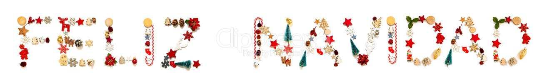 Colorful Christmas Decoration Letter Building Feliz Navidad Means Merry Christmas