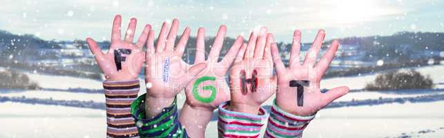 Children Hands Building Word Fight, Snowy Winter Background