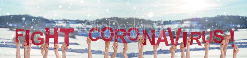 People Hands Holding Word Fight Coronavirus, Snowy Winter Background