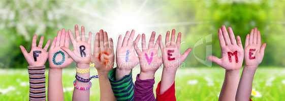 Children Hands Building Word Forgive Me, Grass Meadow