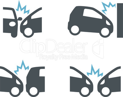 Car crush incident black vector icon set