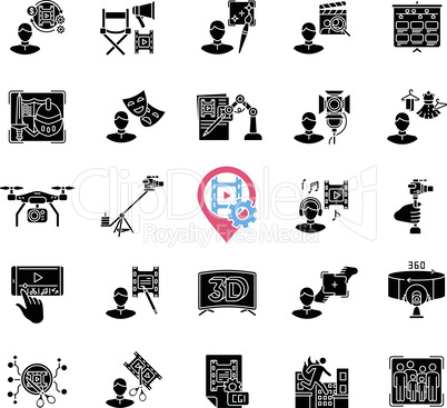 Film making process and staff black glyph icons set on white space