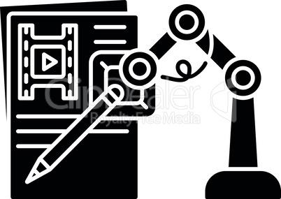 AI written screenplay black glyph icon