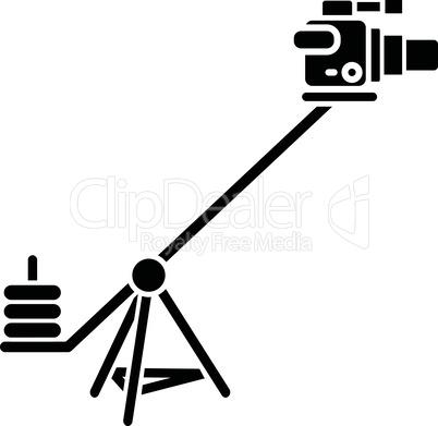 Camera crane black glyph icon