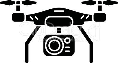 Drone camera black glyph icon