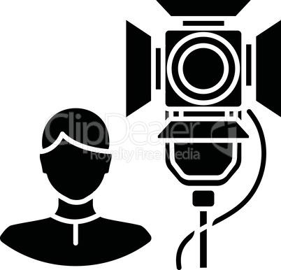 Lighting technician black glyph icon