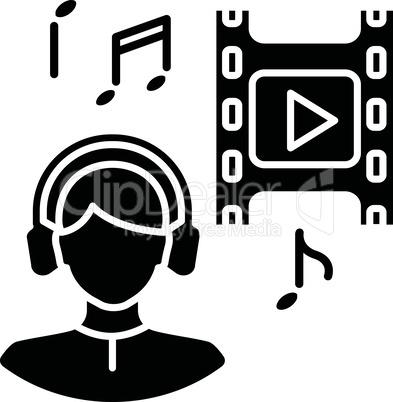 Music supervisor black glyph icon