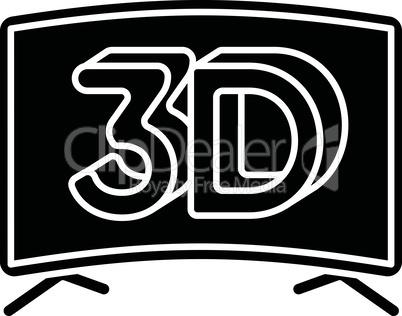 3D television black glyph icon