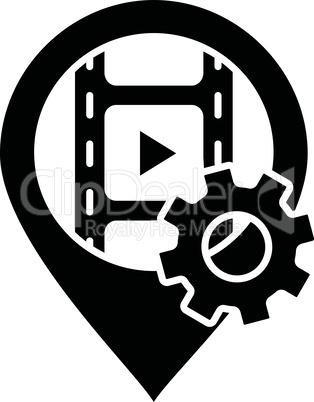 Filming location black glyph icon