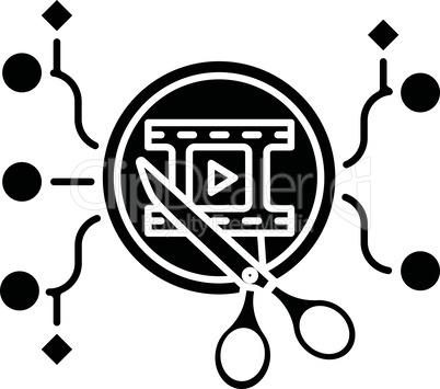 Algorithmic editing black glyph icon