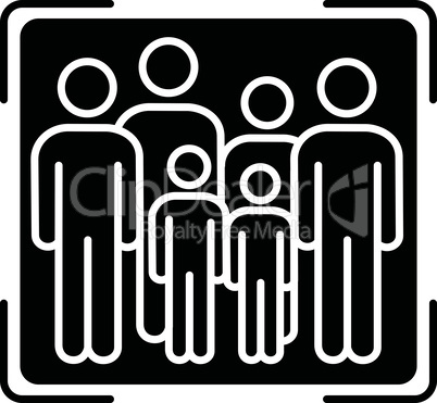Crowd scene black glyph icon