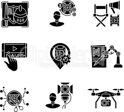 Film making process black glyph icons set on white space
