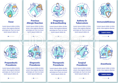 Healthcare services onboarding mobile app page screen with concepts set