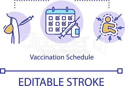 Vaccination schedule concept icon