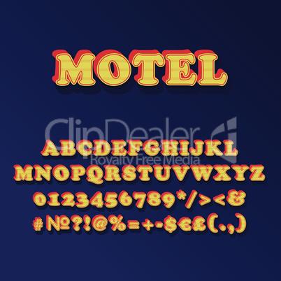 Motel vintage 3d vector alphabet set