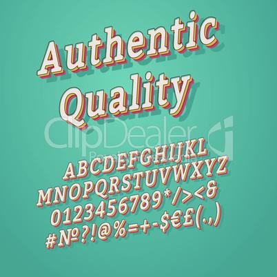 Authentic quality vintage 3d vector alphabet set