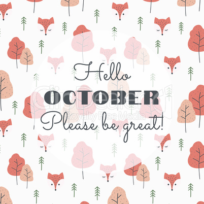 Hello october slogan with colorful pattern