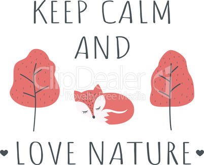 T-shirt design Keep calm and love nature