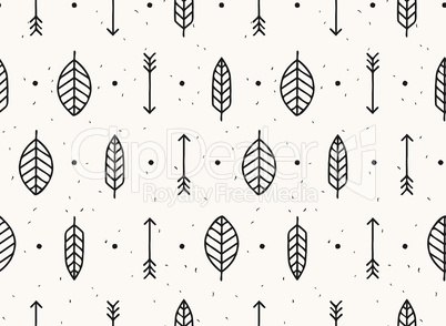 Leaf, arrow and feather vector seamless pattern