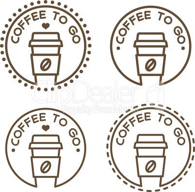Coffee to go label, vector symbol